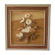 Flower Basket 3D Handcarved Wooden Picture