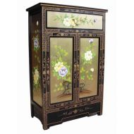 Gold Leaf Floral Cabinet with Drawer
