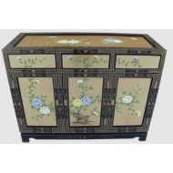 Gold Leaf Floral Sideboard with Glass Top