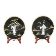 Set Of 2 MOP Plates With Stand