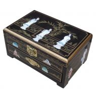 Black Lacquer MOP Jewellery Box with Chinese Lock, Ladies