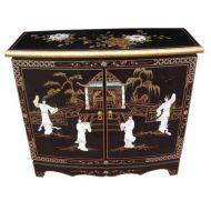 Black Lacquer Mother of Pearl Hall Cabinet