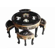 Black Lacquer Mother of Pearl Round Coffee Table With 4 Stools & Glass