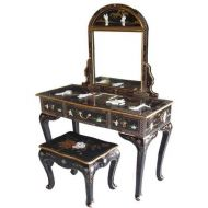 Black Lacquer Mother of Pearl Dressing Table With Mirror & Stool