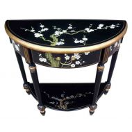 Hand Painted Blossom Half Moon Console Table with Shelf