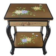 Gold Leaf End Table with Shelf