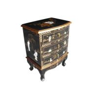Black Lacquer Mother of Pearl 3 Drawer Chest
