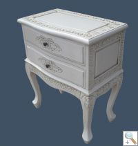 Handcarved French 2 Drawer Side Table