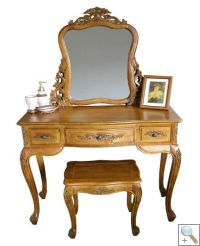 Handcarved Dressing Table with Mirror & Stool