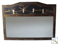 Large Black Lacquer Mirror with Mother of Pearl Carvings