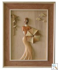 Lady with Umbrella 3D Handcarved Wooden Picture