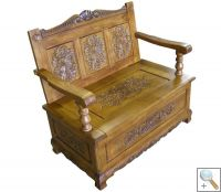 Handcarved Bench with Storage