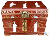 MOP Red Lacquer Jewellery Box with Chinese Lock