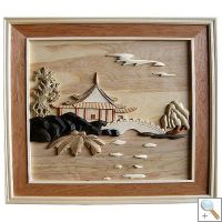 Pagoda with Bridge 3D Handcarved Wooden Picture