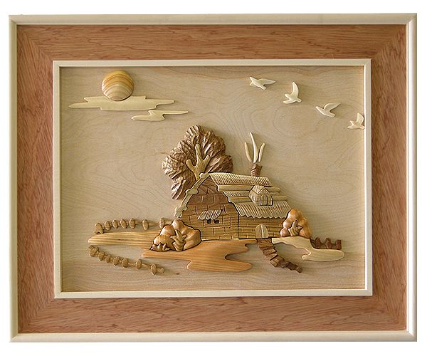 Cottage 3d handcarved wooden picture welcome to grand for Grand international decor