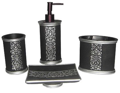 Black With Silver Pattern Bathroom Set Welcome To Grand International Decor