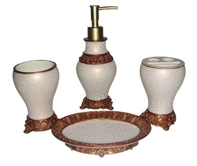 Ivory with crackle effect bathroom set welcome to grand for Black crackle bathroom accessories