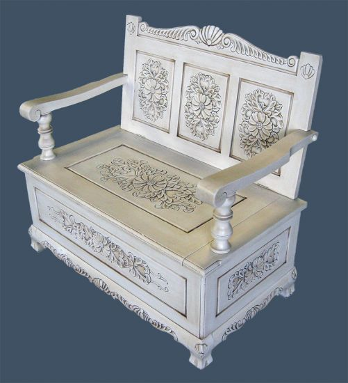 Handcarved bench with storage welcome to grand for French style furniture stores