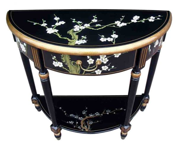 Hand painted blossom half moon console table with shelf for Asian furniture uk