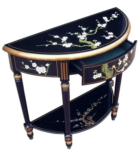 Hand Painted Blossom Half Moon Console Table With Shelf · Product Image ·  Product Image