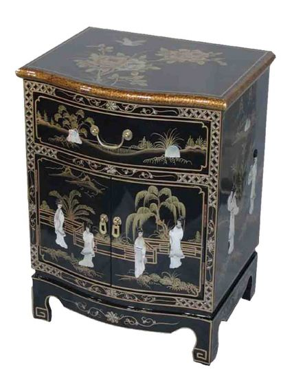 Black lacquer mother of pearl end lamp table welcome to for International decor furniture