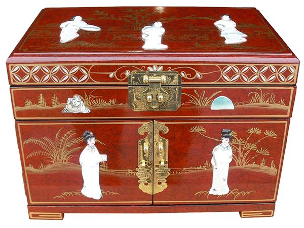 MOP Red Lacquer Jewellery Box with Chinese Lock Welcome to Grand