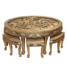 Fantastic Hand Carved Oval Coffee Table W 6 Stools Glass Chinese Gmtry Best Dining Table And Chair Ideas Images Gmtryco